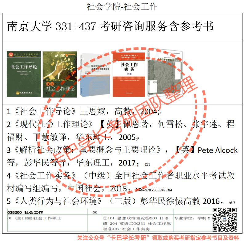 南京大学考研社会工作专业综合考研真题资料和答案