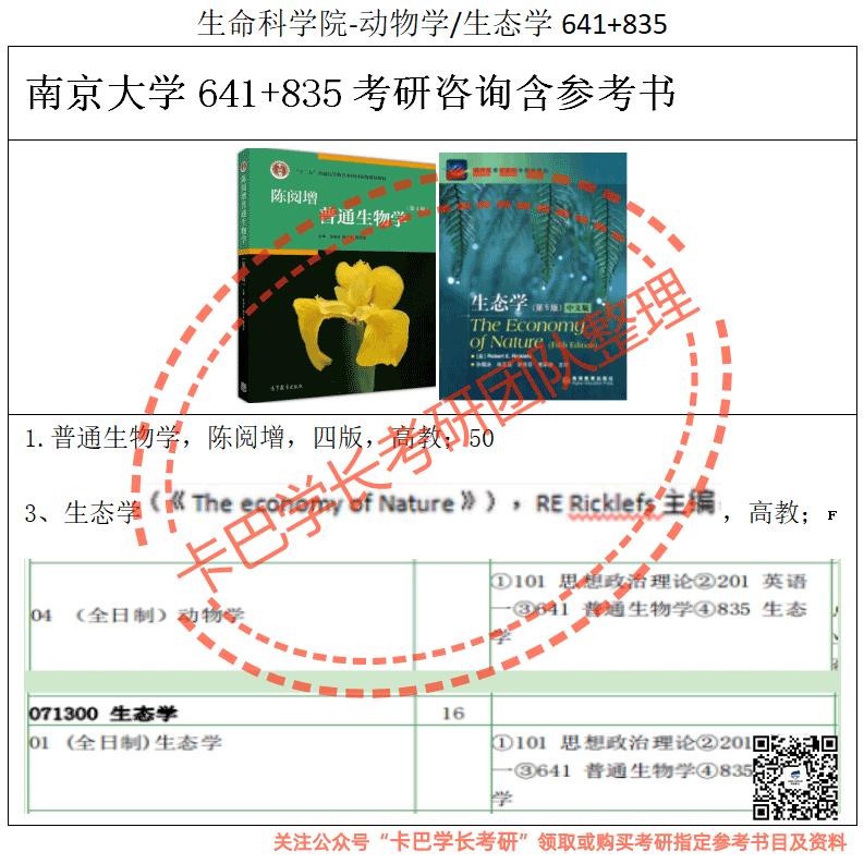南京大学考研835生态学专业综合考研真题资料和答案