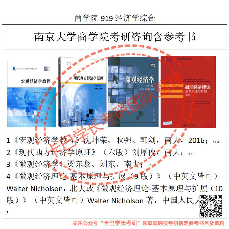 南京大学22考研商学院(919经济学原理)考研真题资料